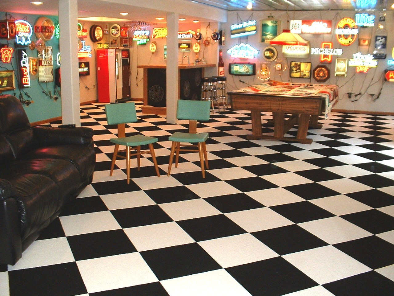 Checkered Flag Black Commercial Carpet Tile